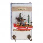 Вешалка корабль с красным бортом  (2 крючка)
