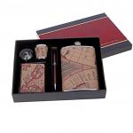 """Набор подарочный """"Карта"""" : фляжка 270 мл, рюмка, воронка, портсигар, ручка"""